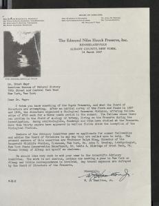 Bill Hamilton invited Harvard evolutionary biologist Ernst Mayr to serve on the Huyck Preserve Scientific Advisory Committee. (March 14, 1947)