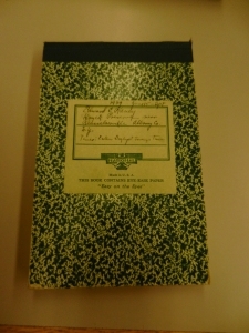 Ed Raney's field notebook that he used to jot down his observations at the Huyck Preserve in 1939.